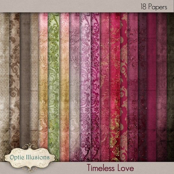 Timeless Love -  Digital Paper - Digital Scrapbooking Papers - 18 Beautiful Papers - 12 x 12 Inches - INSTANT DOWNLOAD -3.25