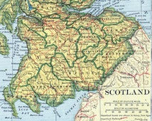 1924 Vintage Map of Scotland. With Insets of Edinburgh and the Orkney Islands and Shetland Islands