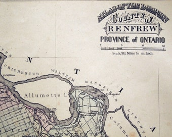 1876 Antique Map of the County of Renfrew, Ontario, Canada - Renfrew County Antique Map - Rare hand coloured map