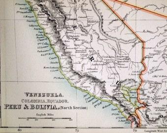 1890 Large Special Library Edition Vintage Map of Venezuela, Colombia, Ecuador, Peru, Bolivia