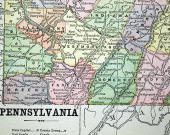1896 Antique Map of Pennsylvania