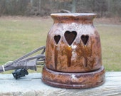 Ceramic  Hearts Wax Candle Tart Warmer Handmade Copper Flecks