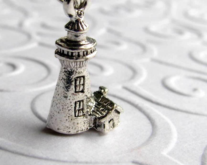 lighthouse necklace light house pewter boating seaside