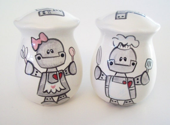 Salt and pepper shakers happy baker robots by theheadscreation Salt and pepper robots