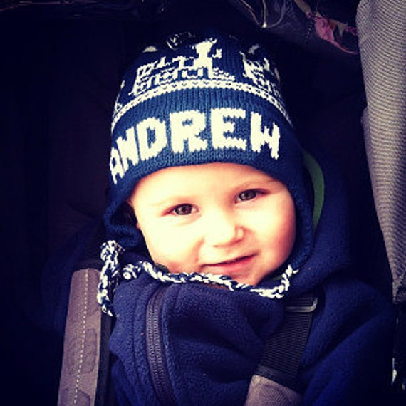 Personalized Earflap Hat - Trains