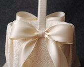 Flower Girl Basket with Ivory Lace and Double Faced Satin Bow - Katherine