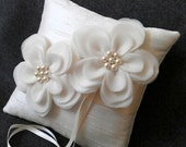 Wedding Ring Pillow - Ivory Silk and Chiffon Ring Bearer Pillow With Pearls - Gabrielle