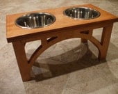 Raised Dog Feeder 1 Qt  8 Inch Double - Sellwood Design - Elevated Pet Feeder - Raised Dog Bowl - Elevated Dog Bowl - Dog Bowl Stand