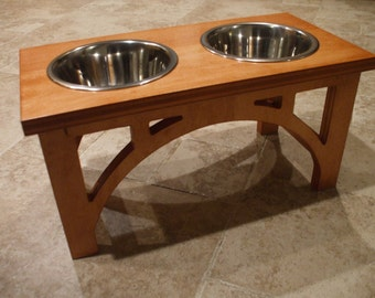 dog bowl stand etsy. Black Bedroom Furniture Sets. Home Design Ideas