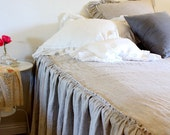 IRIS...SKIRTED COVERLET.. 100% linen