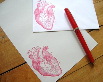 anatomical heart stationery red ink on gray paper letter set for a medically-minded pen pal