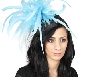 Black and Turquoise Samanta Fascinator Kentucky Derby or Wedding Hat on a Headband