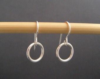 """silver circle earrings. sterling silver. small circle dangles. everyday earrings. drop hoop earrings. simple minimalist. 3/8"""" circle."""