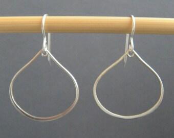 """silver teardrop earrings. silver hoop earrings. sterling silver wire dangles. everyday earrings. simple jewelry. dainty. delicate. 1"""""""