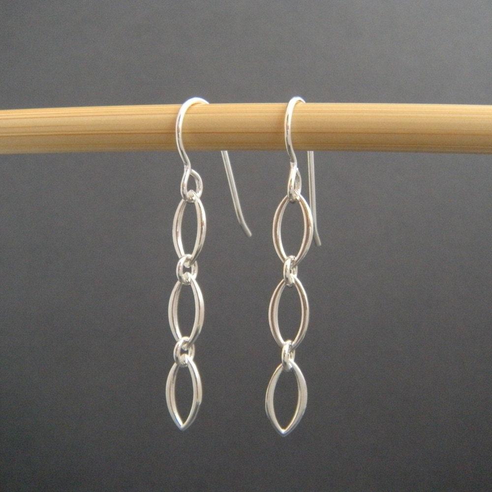 simple silver earrings. small dangle chain earrings. sterling