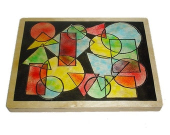 Children's Wooden Tray Puzzle Air Blown Geometric Shapes Collage Puzzle Ready to ship