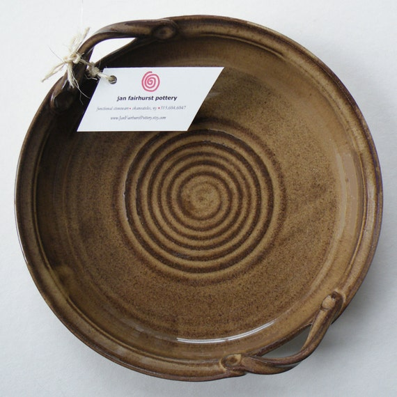 Rustic Brown and Ready to Ship - Rustic Wedding Gift - Brown with Oatmeal Baking Dish - Kitchen Serving Dish