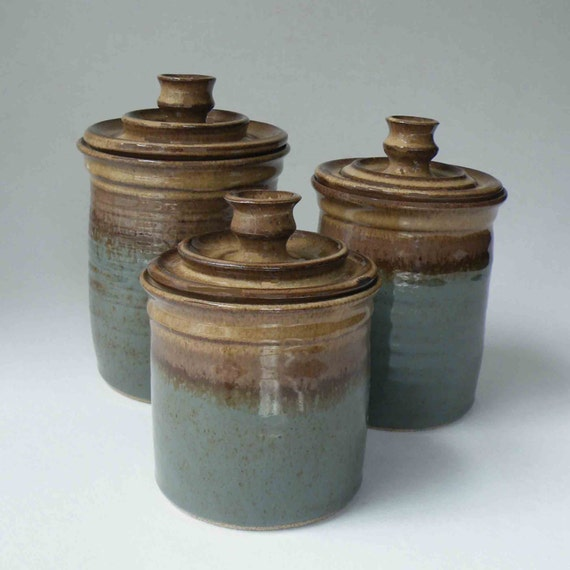 ceramic canisters sets for the kitchen made to order kitchen set of 3 canisters by janfairhurstpottery 8603