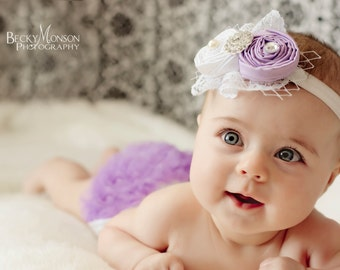Lavender Baby headband and chiffon Bloomer Set...Hair bow and Diaper Cover...custom sizes available