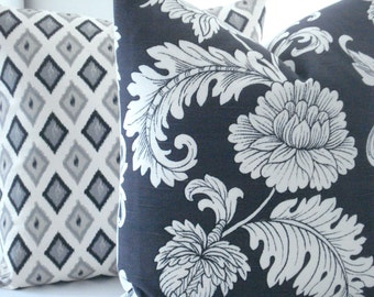 BOTH SIDES  Floral-Charcoal Decorative Pillow Cover,-Designer Fabric--Botanical Design -Grey Throw /Toss Pillow