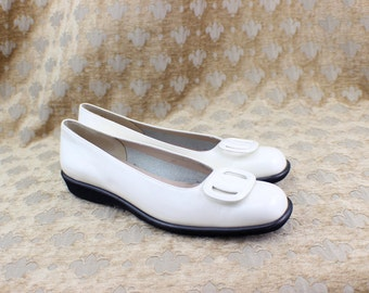 VTG  Salvatore Ferragamo Ballet Loafers White Patent Leather