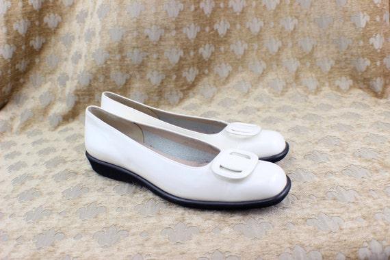 VTG  Salvatore Ferragamo Ballet Loafers White Patent Leather