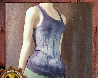 Made to Order a Womens One of a Kind Battered and Blue Dirty and Distressed Wasteland Tank Top