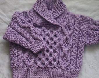Aisling aran sweater with cross-over collar for babies or toddlers - PDF knitting pattern