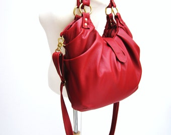 Red Leather Purse, Pleated Satchel, Messenger backpack purse - Red with Gold Hardware