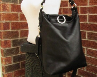 Black leather fold over bag shoulder tote messenger