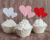 Valentines Day Heart Cupcake Toppers Set of 24