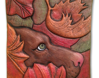 "Hand carved, hand pressed ceramic, wall sculpture, earthenware, Chocolate Labrador Retriever ""Fall Dog,"" tile"