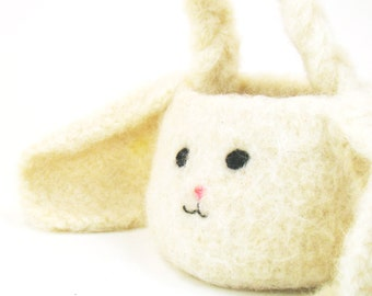 Felted Crochet Pattern for Mini Bunny Rabbit Basket PDF INSTANT DOWNLOAD