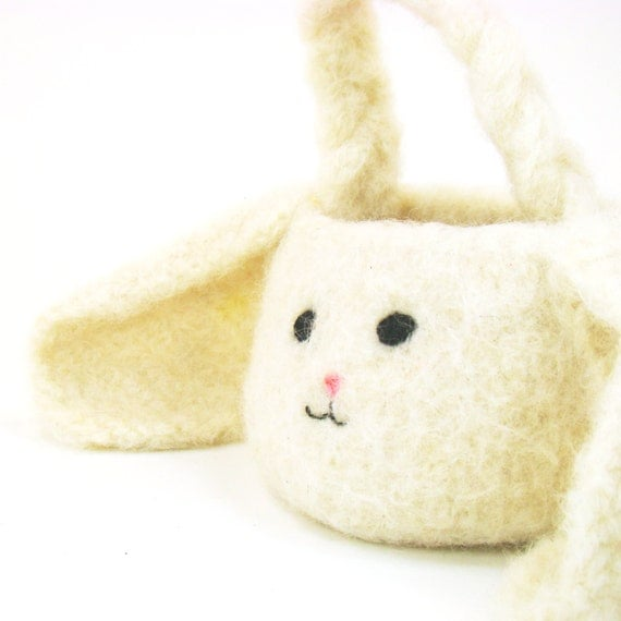 Felted Crochet Pattern for Mini Bunny Rabbit Basket PDF INSTANT DOWNLOAD