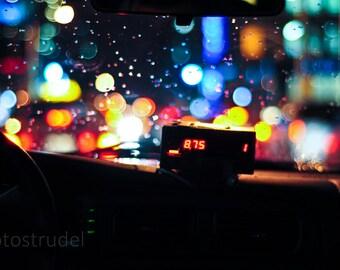 Toronto Fine Art Photograph. Beck Taxi Glow, Taxi Metre, Downtown Toronto 8x12