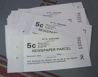 10 x Vintage Australian Newspaper Parcel Tickets for Altered Arts Mixed Media Collage Destash