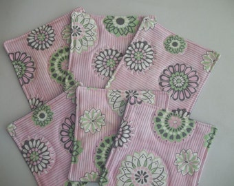 Fabric Coasters Mod Coaster Set of 6 Pink and Green