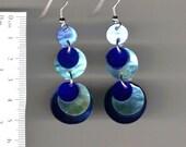 shell earring, tiered dangle- blue