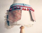 Women's Boho Hip Purse Denim Utility Belt Pouch Jeans Pockets Burgundy Tassel Gypsy Fringe 'WILD BETTY'