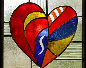 Crazy Heart Stained Glass