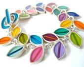 colorful leaf bracelet  , resin , silver