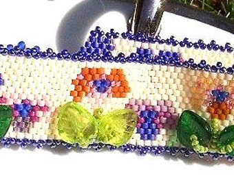 Welcome Spring Floral Pansy Cuff Bracelet
