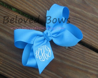Custom Boutique Monogrammed Hair Bow--Personalized---Birthday Bow---Great Gift---Formal Font