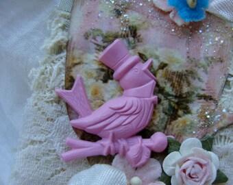 Vintage Pink Kitsch  Chipper Cabochon