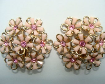 Vintage Pink Antique Large Gorgeous  Rhinestone Clip on earrings