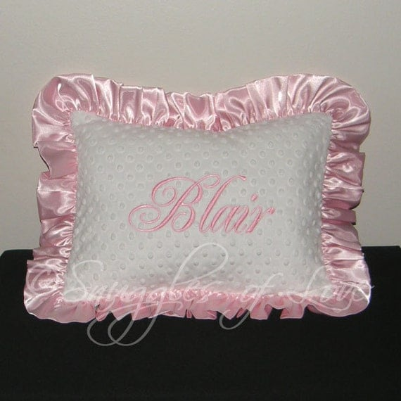Light Pink Ruffle Throw Pillow : Light Pink Minky Pillow MONOGRAMMED White by SnugglesofLove