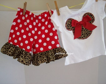 Leopard Minnie ruffle short set or Pant set in sizes 6m-3t