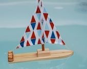 NEW Organic Flags Wooden Sailboat