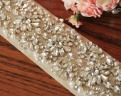 "17"" Bridal Sash Belt, Champagne Sash, Rhinestone Wedding Sash Belt"