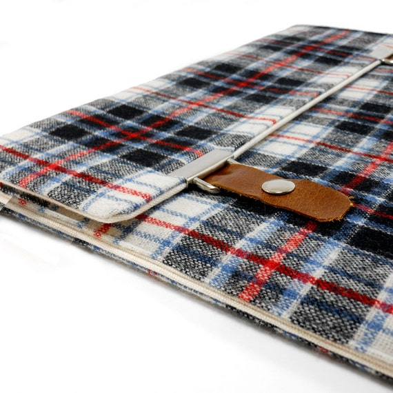 iPad / iPad Air case - blue, red and black vintage plaid